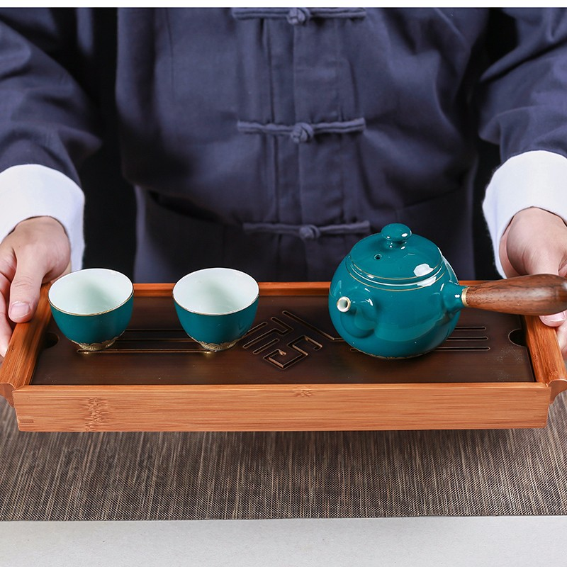 [GRANDNESS] ORIGINAL bamboo tea tray Black Tabletop Chinese Gongfu Tea Serving Bamboo Table Water Drip Tray 39*13cm