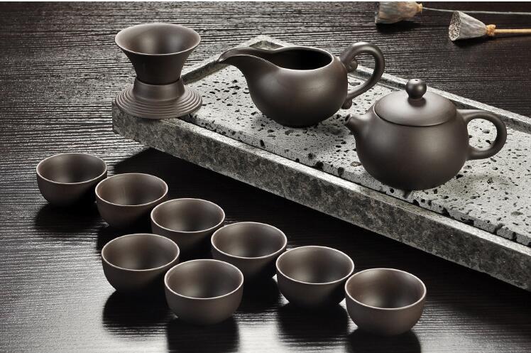 Yixing Purple sand tea set black/red ceramic kung fu Teapot, handmade Purple sand teapot teacup gaiwan Tureen tea ceremony