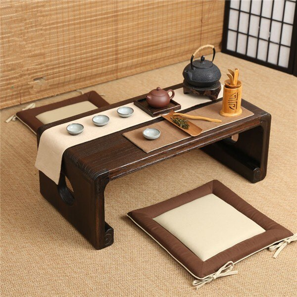Oriental Furniture Chinese Low Tea Table Small Rectangle 80x39cm Living Room Side Table For Tea, Coffee Antique Gongfu Tea Table