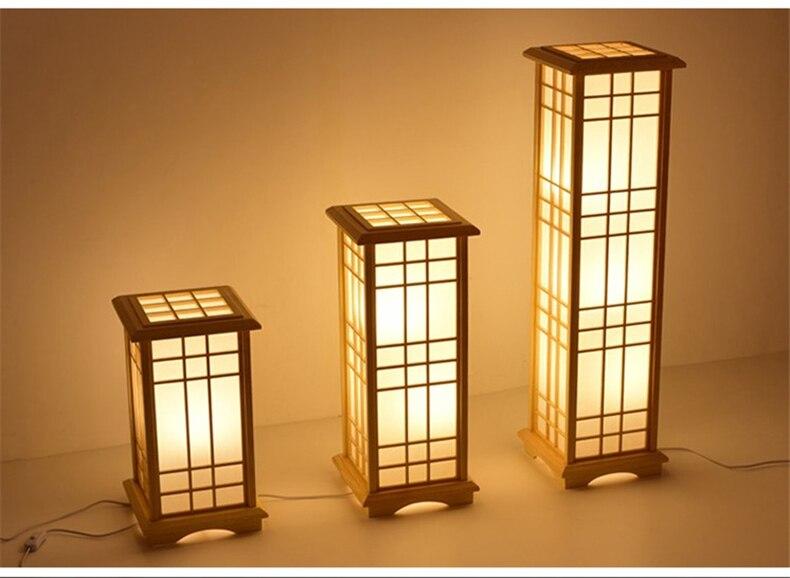 Modern Japanese Floor Lamps Tatami Style Square Shape Wooden LED Lamp Floor Bedroom Standing Lamps for Living Room Tall Lamp E27
