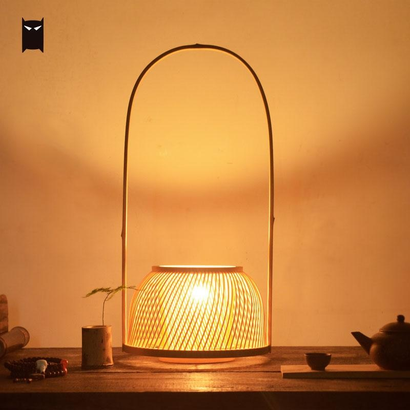 Natural Bamboo Wicker Rattan Shade Desk Table Lamp Fixture Asian Art Decoration Chinese Medittation Hand Mini Night Stand Design