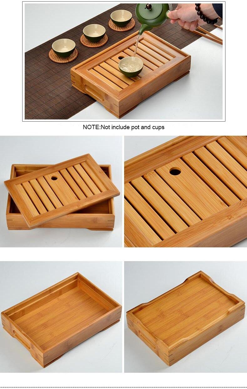 Kung Fu Tea Set Natural Bamboo Tea Tray Rectangular Traditional Puer Wooden Tea Tray Chahai Tea Table