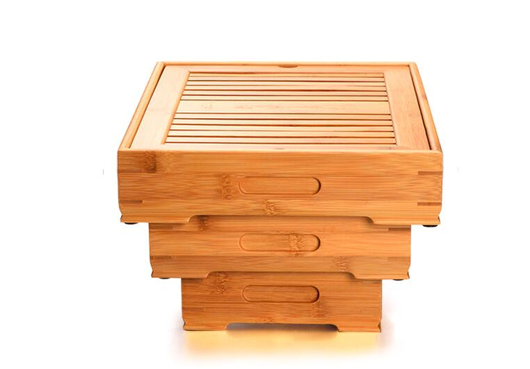 Bamboo Tea Trays Kung Fu Tea Accessories Tea Tray Table With Drain Rack Chinese Tea Serving Tray Set Free shipping