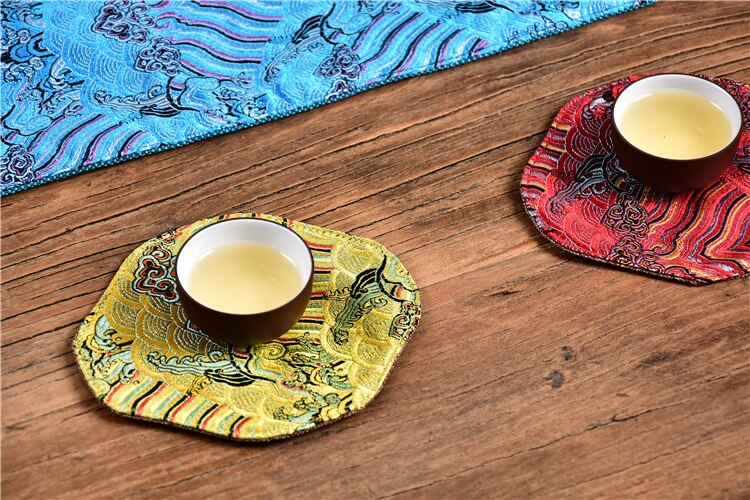 Traditional Chinese Style Table Runner Embroidered Table Flag Floral Placemat Tea Coffee Table Mat Decor