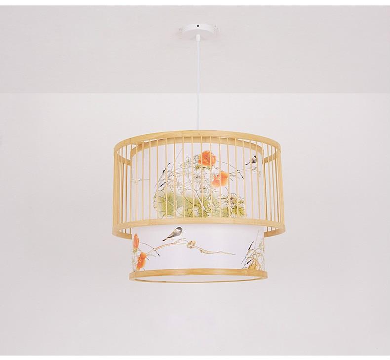 New Chinese Bamboo Pendent Lamp Japanese Pastoral lighting creative restaurant lighting tea room Individual bamboo decorative