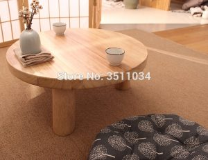 Japanese Wooden Round Low Table – With or Without Cushion