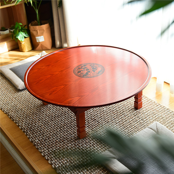 60-90cm Round Korean Coffee Table Folding Leg Asia Antique Furniture Floor Table for Dinning Traditional Living Room Wood Table