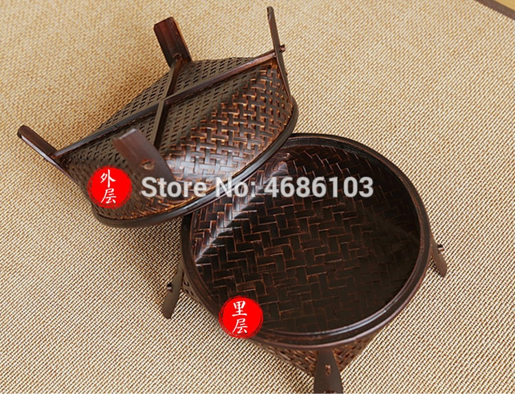 Thai Style Retro Kungfu tea sets include bamboo baskets with covers for round household tea table tea ceremony and tea table