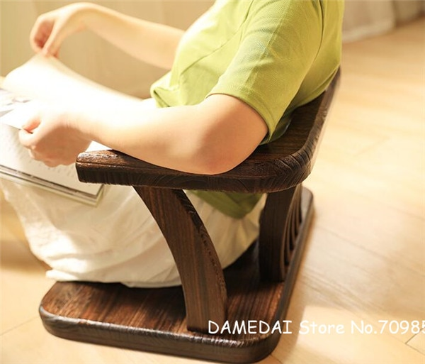 Japanese Style Solid Wood Floor Chair Armchair Tatami Meditation Zaisu Legless Chair Seating For Gaming,Reading,Watching TV