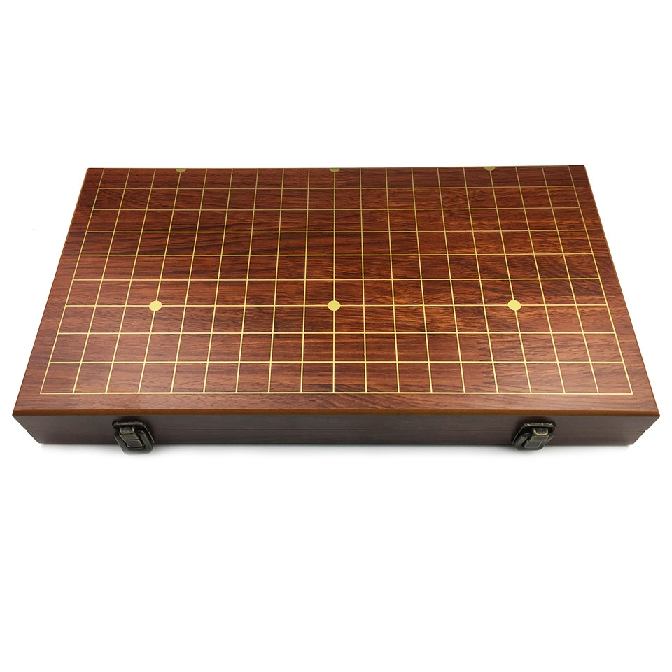 BSTFAMLY Go Chess 19 Road Chessboard 50cm*46cm*3cm Foldable Wooden Checkerboard Old Game of Go Weiqi Board for 2.2cm pieces LB44