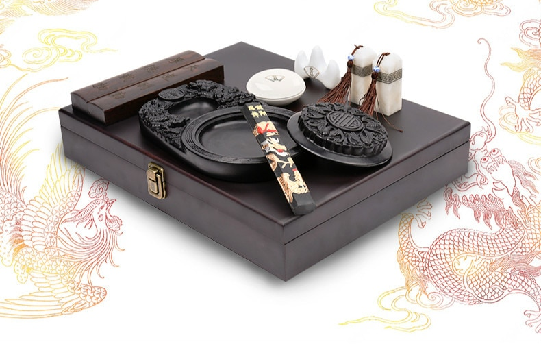 Chinese Calligraphy Brush Pen Set Paperweight Seal Ink Stick Set Chinese Painting Brushes Set Calligraphy Supplies Gift Box Set