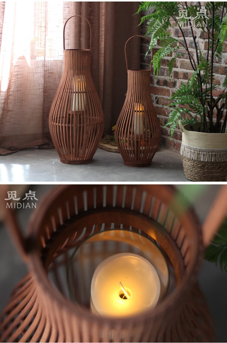 Wind Proof Candle Holders Retro Vintage Large Tall Table Candle Holder Lantern Hanging Portavelas Home Decoration Garden AD50CH