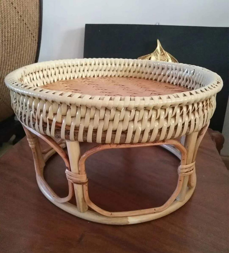 Tray Coffee table Handmade rattan storage small table Portable outdoor picnic table