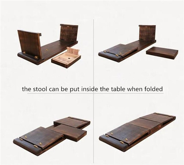 Wood Folding Table Piano Bench Asian Chinese Antique Furniture Living Room Oriental Traditional Wooden Floor Tea Table Foldable