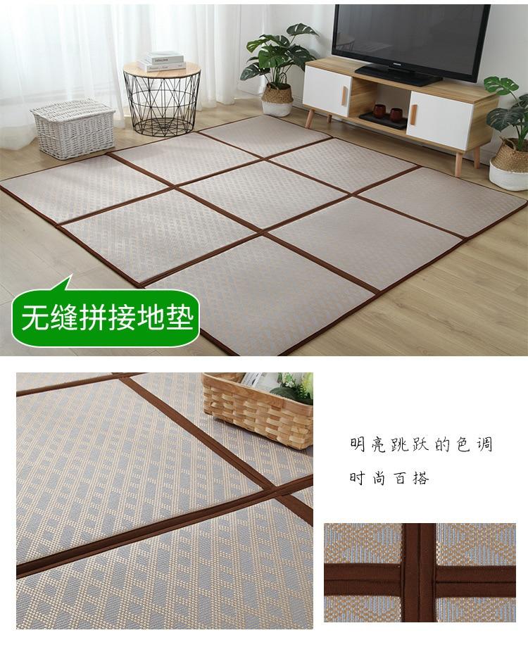Folding Rattan Floor Mat Thick Living Room Floor Sleeping Mat Rattan Japanese Tatami Carpet Pad Summer Baby Play Mat Non-Slip