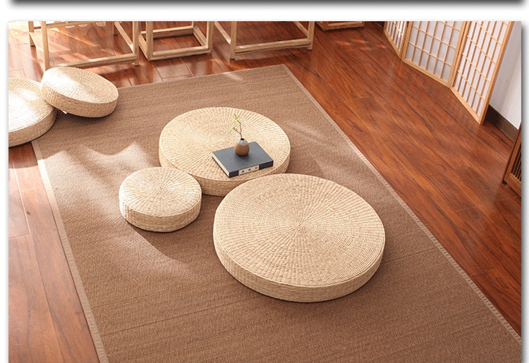Handmade Straw Futon Meditation Yoga Padded Cushion Kneeling Japanese Tatami Mat chair cushion