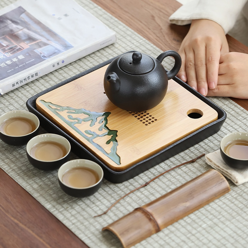 Chinese Style Resin River Design Bamboo Tea Tray For Office House Tea Room Use Round Square Shape Small Tea Pot