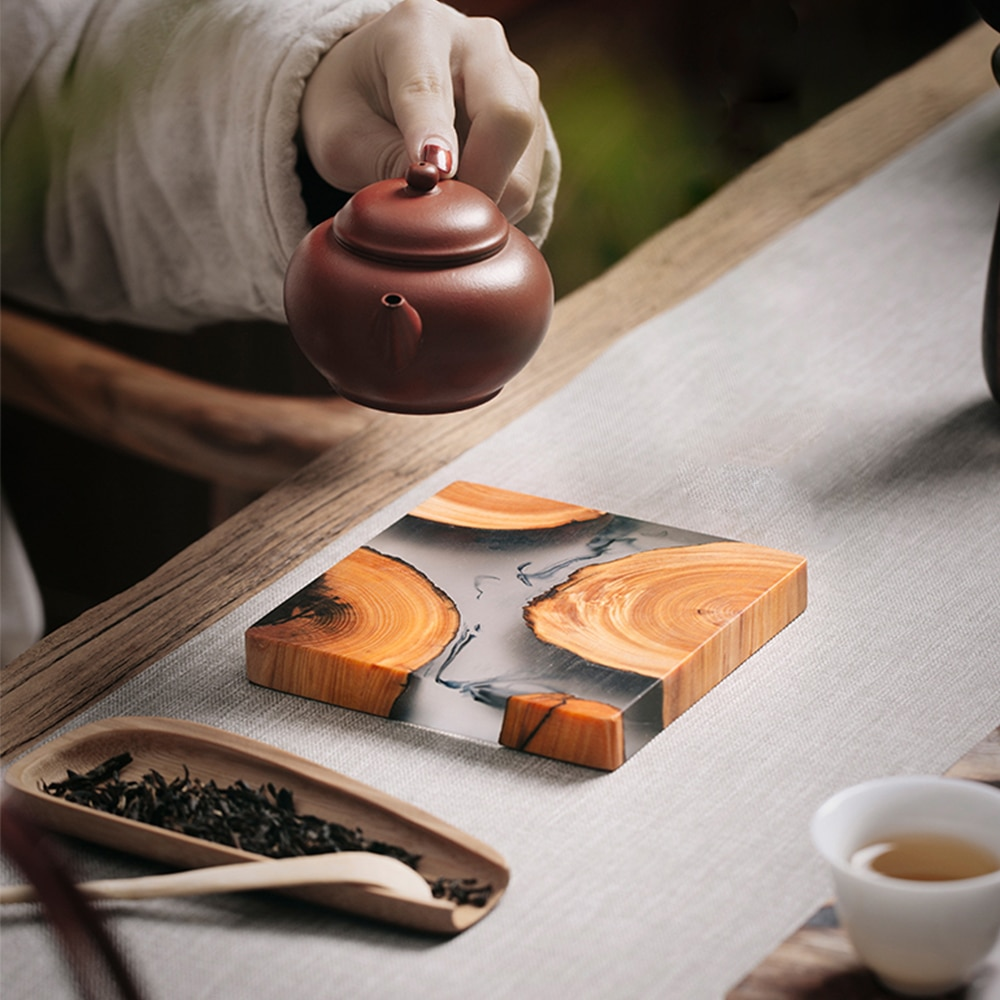 Japanese Style Wood Resin Tray For Bowl Teacup Teapot Teahouse Home Hotel Home Decoration Tray Tea Accessories
