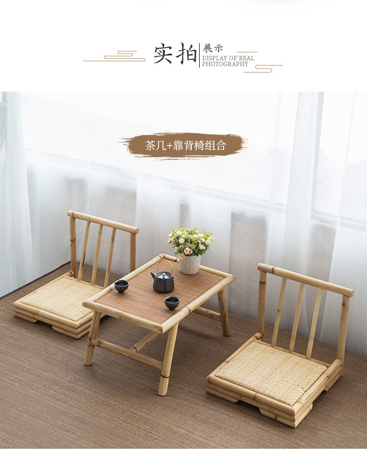 Simple bay window tatami coffee table table Japanese style small coffee table creative tea table and chairs solid wood Zen table