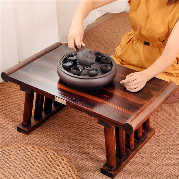 Japanese Antique Wooden Tea Table Solid Paulownia Wood Asian Furniture Living Room Traditional CHABUDAI Tea Center Tray Table
