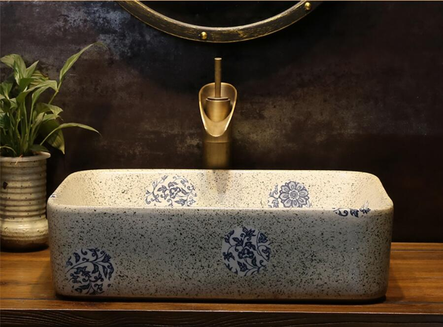 Bathroom Porcelain Vanity North Europe Style Vessel Sink Ceramic Ancient Counter top Washbasin XR82-245