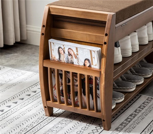 Bamboo Shoe Bench Rack W Removable Cushion Hidden Storage Compartment Side Drawer Entryway Shoe Storage Organizer Shoe Cabinet