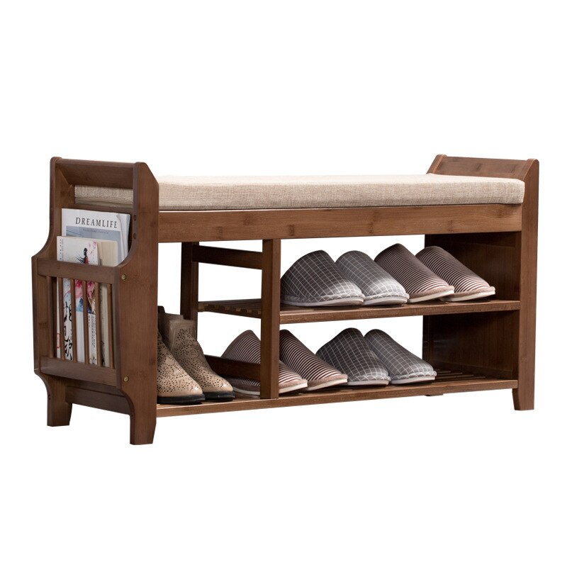 Natural Bamboo Shoe Storage Rack Bench With 2 Tier Cushioned Seat Viola Shopping