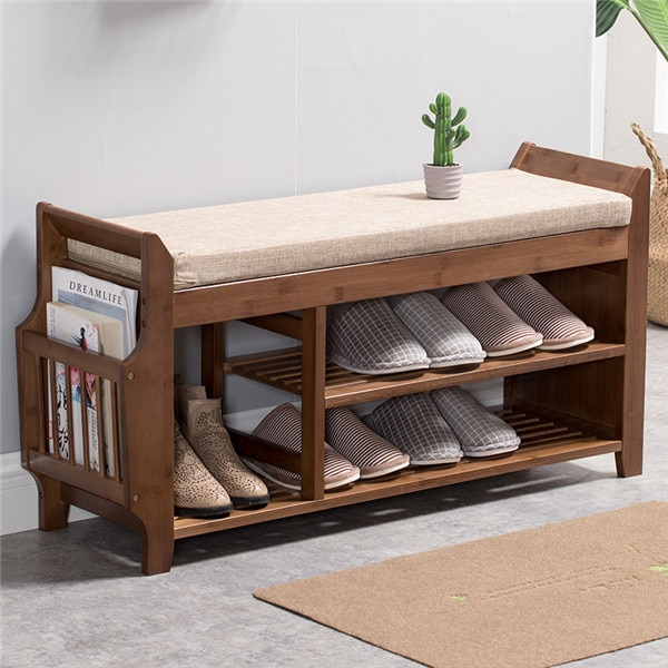 Natural Bamboo Shoe Storage Rack Bench with 2-Tier Cushion Seat Living Room Shoe Organizer Entryway Storage Hallway Furniture