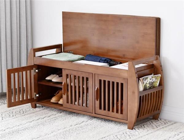 Modern Bamboo Shoe Rack Cabinet Entryway Organizer Storage Household Shelf with Seat Cushion Bamboo Furniture Hallway Shoe Stand