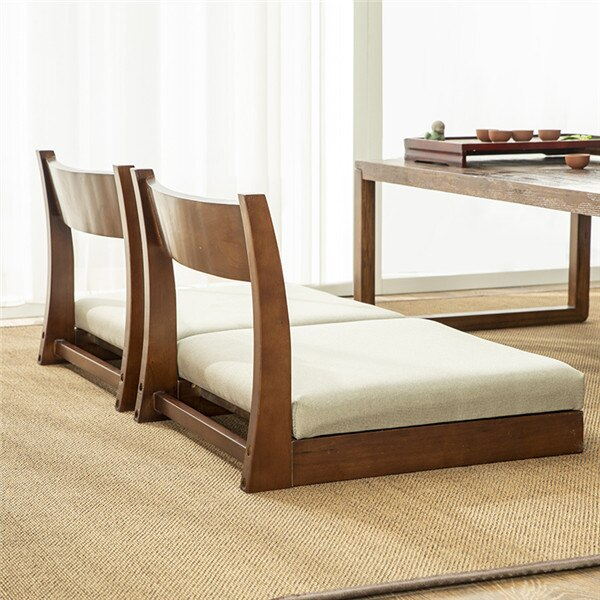 Wood Zaisu Floor Japanese Meditation Tatami Chair W Back Support For Reading Relaxing Tv-watching Seminars Or Discussion Group