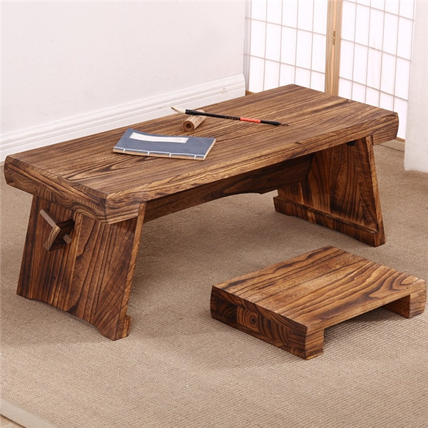 Antique Low Tea Table with A Bench for Japanese Tatami Living Room Balcony Window Platform Coffee Cocktail Table Furniture Wood