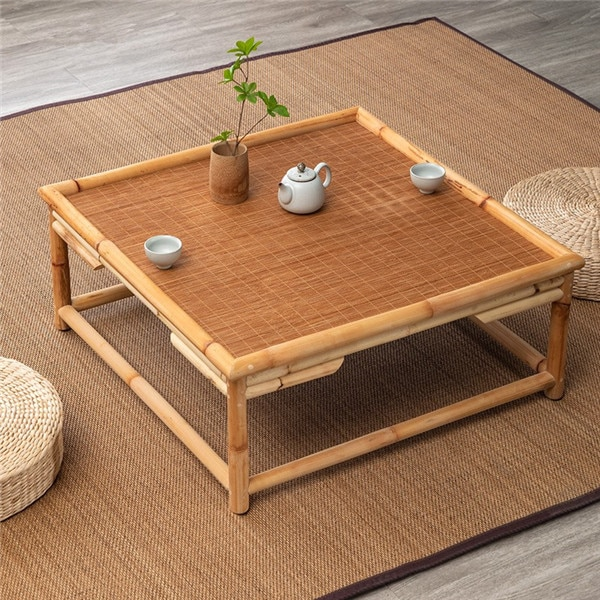 Vintage Indoor Natural Bamboo&Rattan Furniture Floor Table Square Asian Style Tatami Coffee Living Room Low Tea Center Table