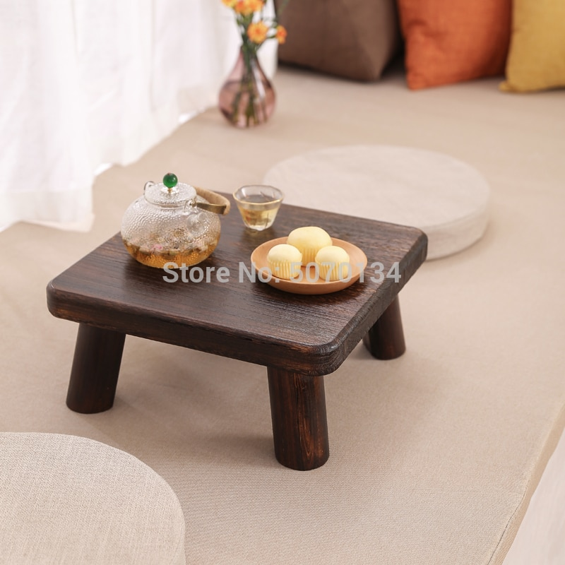 Square Wooden Tea table Antique Paulownia Wood Traditional Furniture Low Dinner Floor Side Table