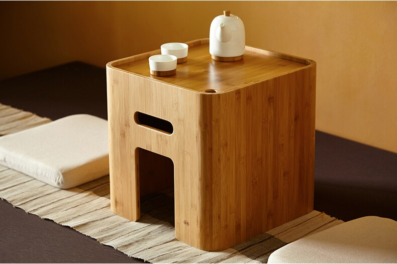 ZEN'S BAMBOO Storage Ottoman Stool Japanese Coffee Table Small Table Home Funiture