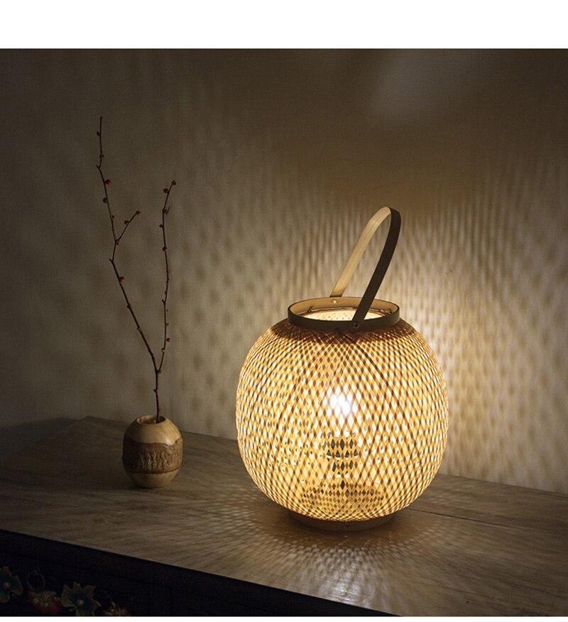 Chinese style table lamp bamboo art bamboo weave pastoral restaurant bedroom balcony Japanese lanterns tatami lamp