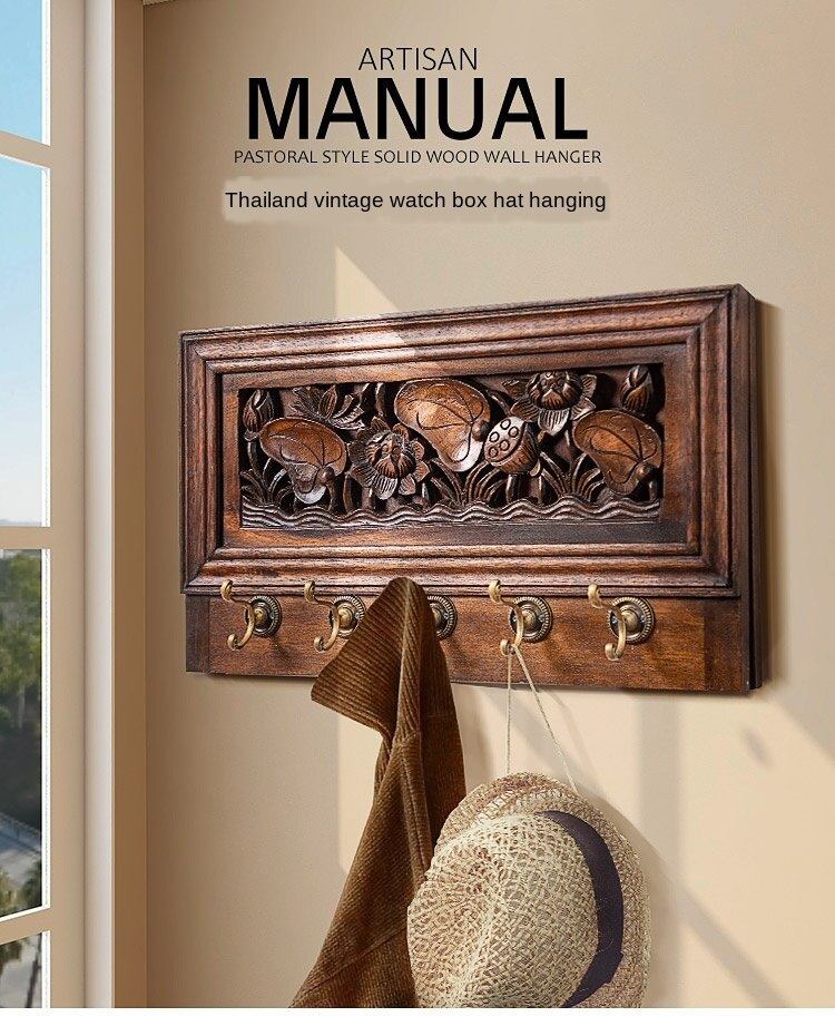 Living room rack / wall hanging / wall hook / creative electric box cover solid wood meter box decorative painting coat hook