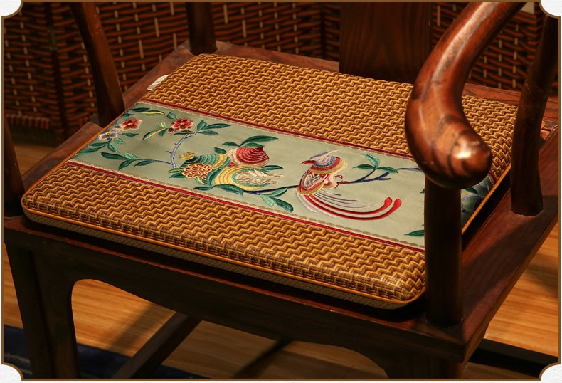 Summer Striped Rattan Pad New Chinese Style Seat Cushion Floral Embroidered Non-slip Chair Cushion Home Party Decoration
