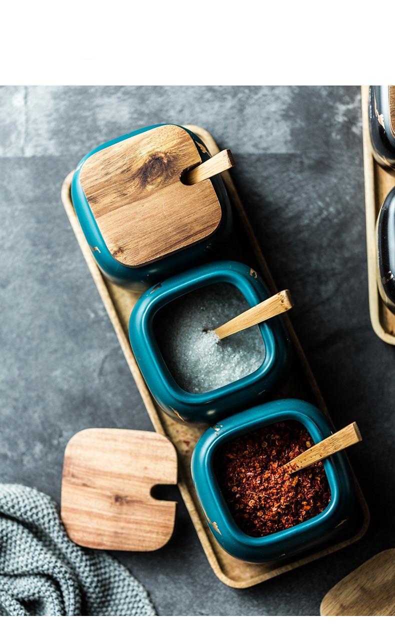 Nordic matte marbled ceramic seasoning cans single salt cans household seasoning box kitchen seasoning seasoning 3 piece set