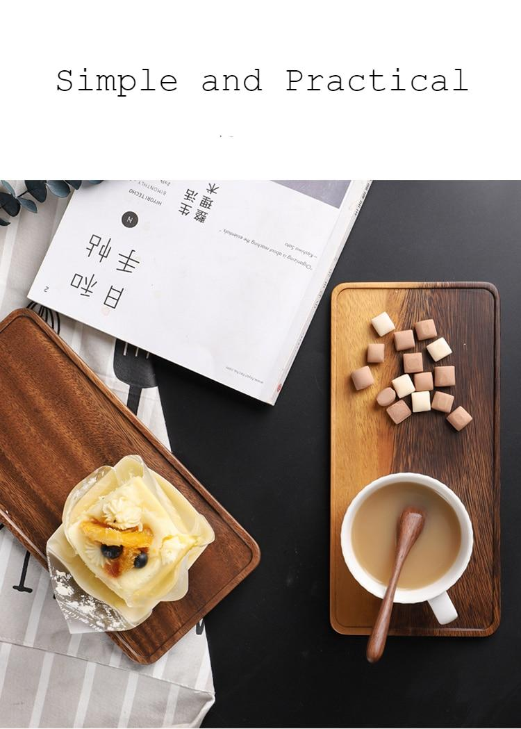 Musowood Acacia Rectangle Wooden Tea Tray Serving Table Plate Snacks Food Storage Dish for Hotel Home Serving Tray