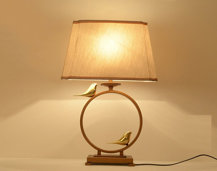 Table Lamp New Chinese Style Living Room Bedroom Study Iron Riverside Classical Hotel Room Tea House Bronze CL