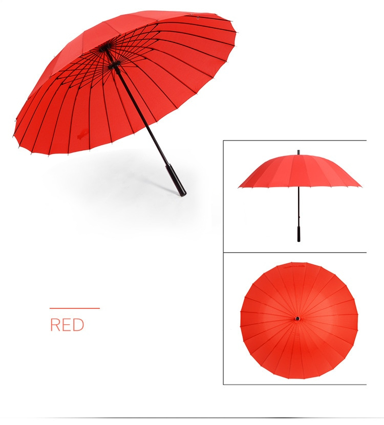 Women Umbrella Rain Women Windproof Male Walking Stick Umbrellas 24K Large Men Leather Golf Sun Paraguas Colorful Parasol