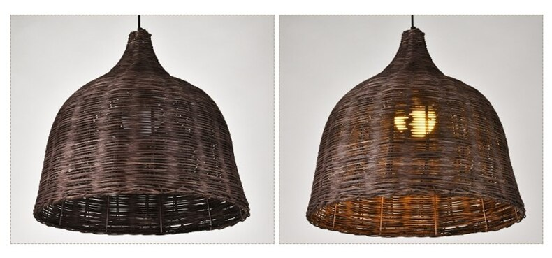 Rattan Handmade Bamboo Pendant Lights Japanese Shop Decor Hanglamp Home Decor Dining Room Loft Led Hanging Lamp E27