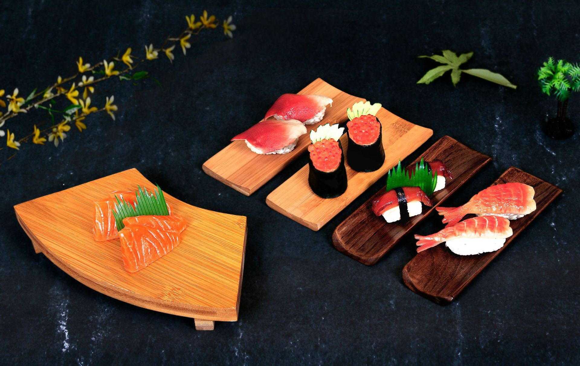 Sushi Board Bamboo Sushi Tray Japanese and Korean Cooking Stool Wooden Sushi Table Wooden Bench Japanese Tableware Sushi Table