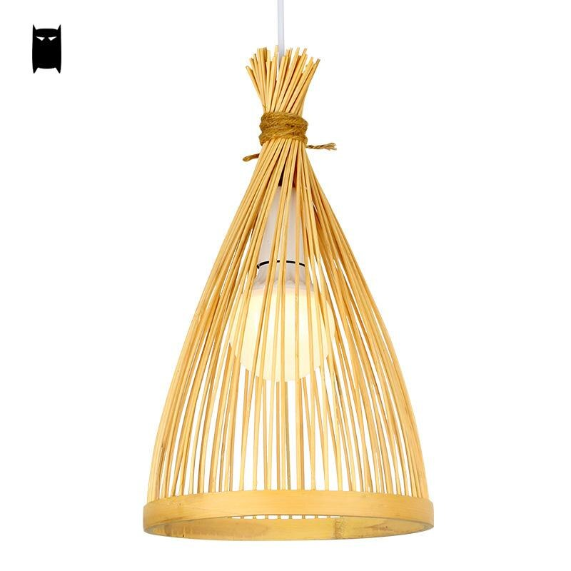 Bamboo Wicker Rattan Cage Pendant Light Fixture Asian Chinese Creative Japanese Style Lamp Suspension Luminaire Sushi Restaurant