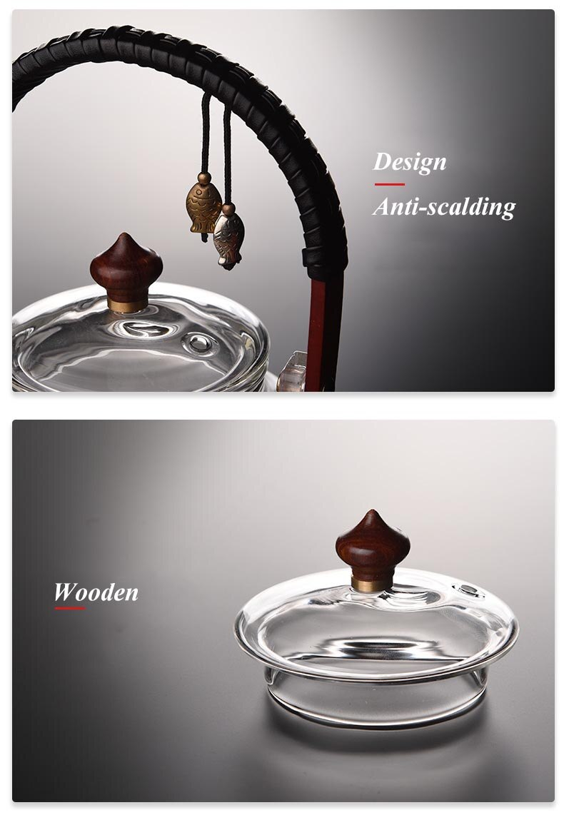 900ml Home Heat Resistant Glass Teapot Puer Teaware Office Flower Teapots with Glass Filter Tea Kettle Chinese Kung Fu Tea Pot