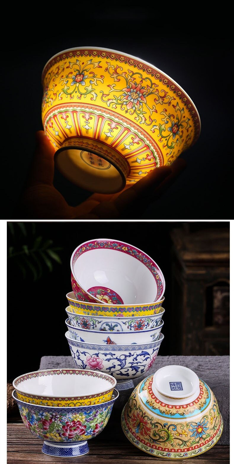 4.5 inch Jingdezhen Ceramic Small Rice Bowl Chinese Bone china Ramen Mixing Bowls Dinnerware Home Kitchen Tableware Food Holder
