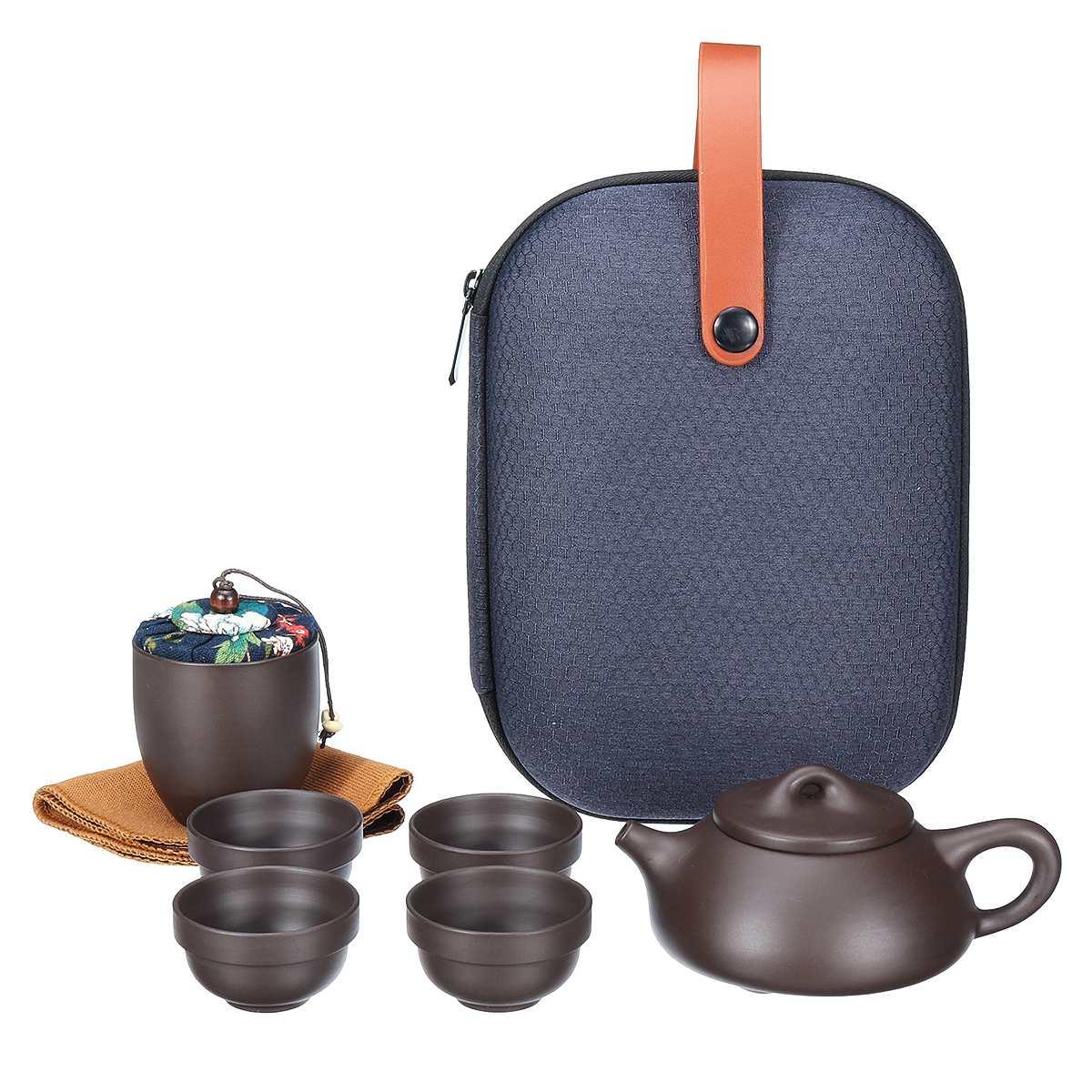Teaware Sets Portable Teapot Tea Set Gift Chinese Purple Sand Tea Pot + 4 Cups + 1 Storage Bag Travel Drinkware Kitchen Tools