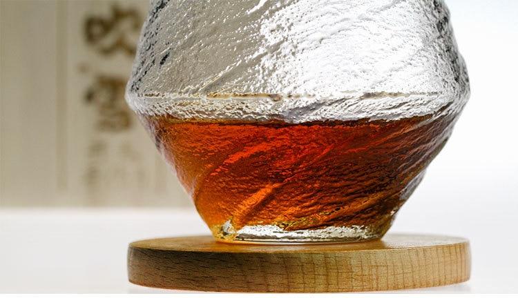 Japan EDO Blowing Snow Artwork Whiskey Neat Glass Wood Gift Box Niche Liquor XO Whisky Crystal Wine Glass Cognac Brandy Snifter