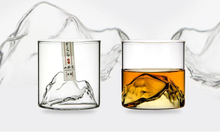 Niche Japanese Style Whisky Cup-shallow Mountain Liqueur XO Wine Cup EDO Guanshan Fuji Artwork Wooden Gift Box Whiskey Glass