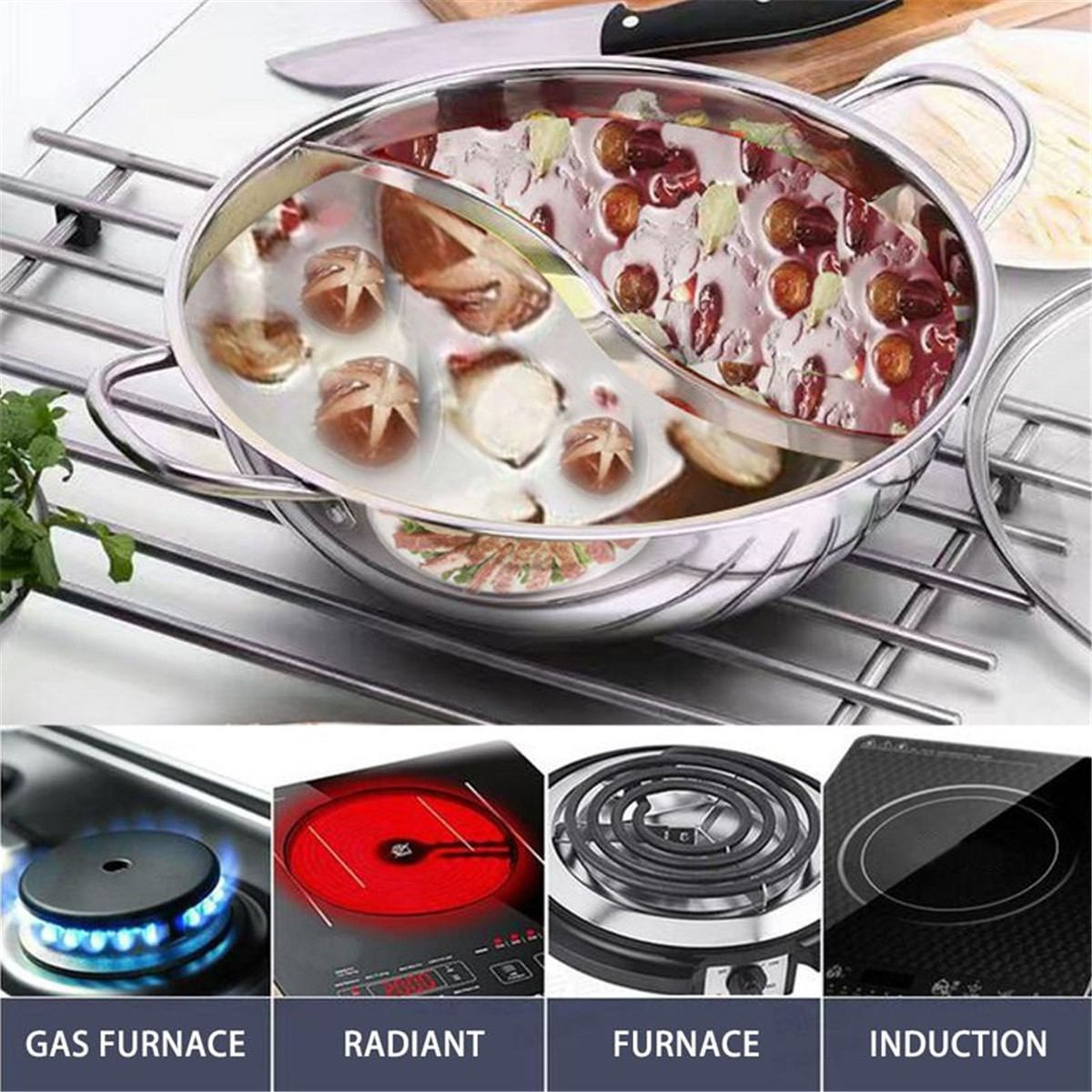 Stainless Steel Pot Hotpot Induction Cooker Gas Stove Compatible Pot Home Kitchen Cookware Soup Cooking Pot Twin Divided